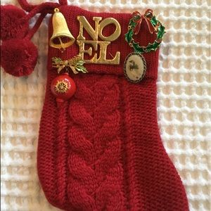 Christmas Stocking With Vintage Pins